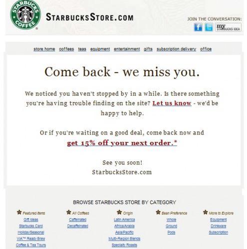 Это напоминание от Starbucks Store попадает прямо в точку, предлагая скидку клиентам, которые давно ничего не покупали