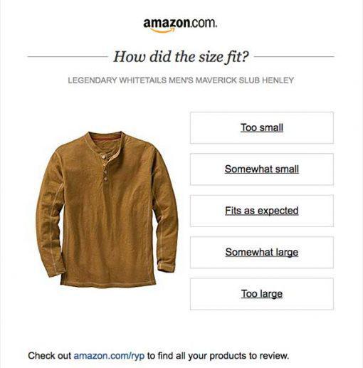 Amazon просит клиентов всего лишь об одном клике, чтобы узнать их мнение о размере купленной ими одежды