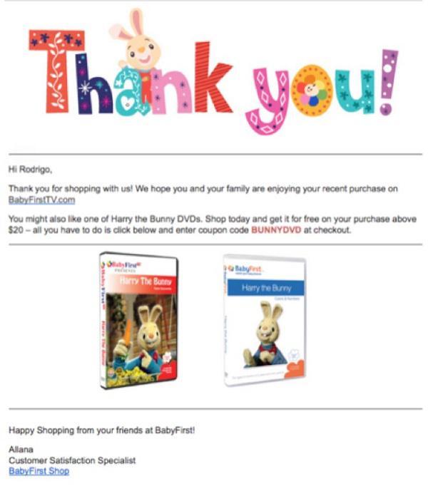 Пример благодарственного письма от BabyFirst