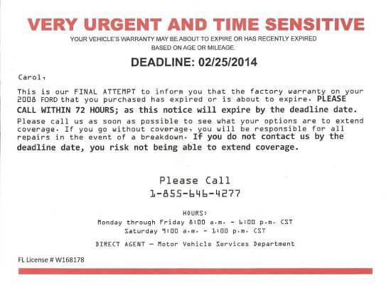 Официальное письмо, предупреждающее об истечении гарантийного срока
