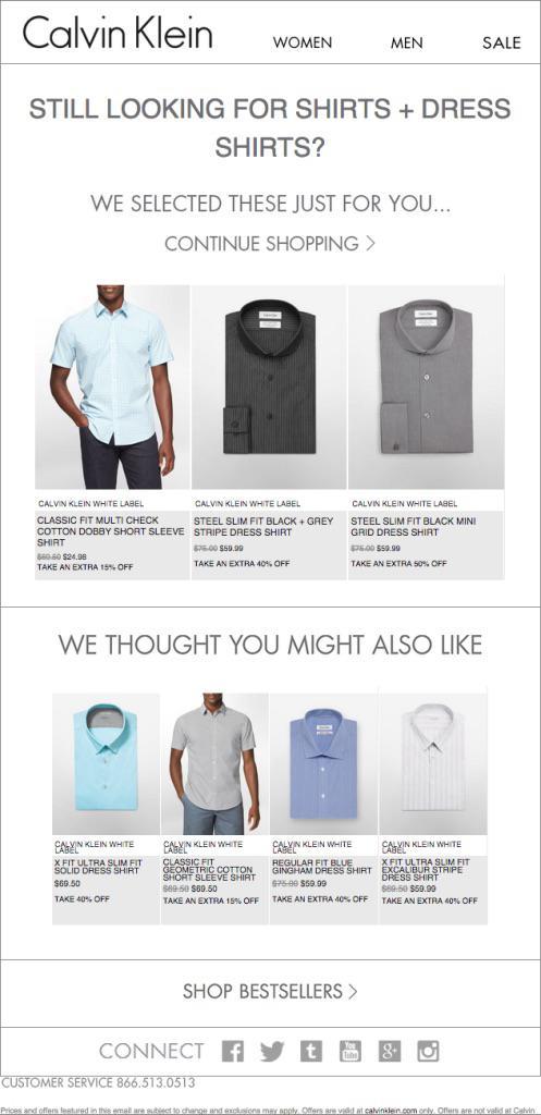 Рекомендации по рубашкам и напоминание от Calvin Klein, основанные на просмотренных ранее рубашках и брюках
