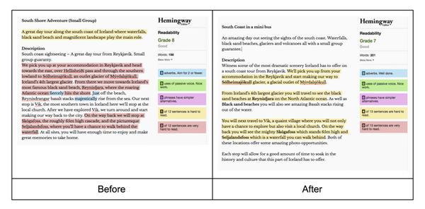 До и после редактирования контента с помощью приложения Hemingway для проверки грамотности и простоты текста