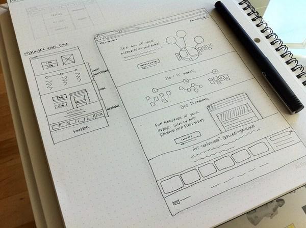 Эскиз — это быстрый способ визуализации идеи (например, новый дизайн интерфейса)