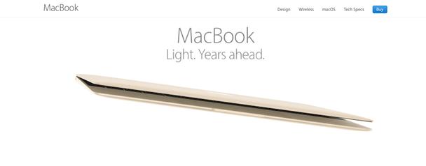 Так выглядит главная страница сайта Apple выше линии сгиба