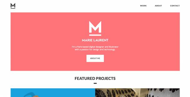 Портфолио Мари Лоран — типичный пример того, что многие дизайнеры назвали бы минималистичным сайтом
