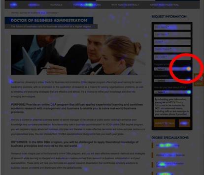 тепловая карта для сайта одного из американских колледжей