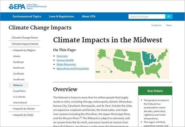 Якори» на сайте EPA.gov снабжены заголовком «На этой странице», чтобы указать посетителям на функциональную принадлежность этих ссылок