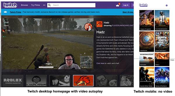 Слева: десктопная версия домашней страницы Twitch — видео с автовоспроизведением Справа: мобильная версия домашней страницы Twitch — нет видео