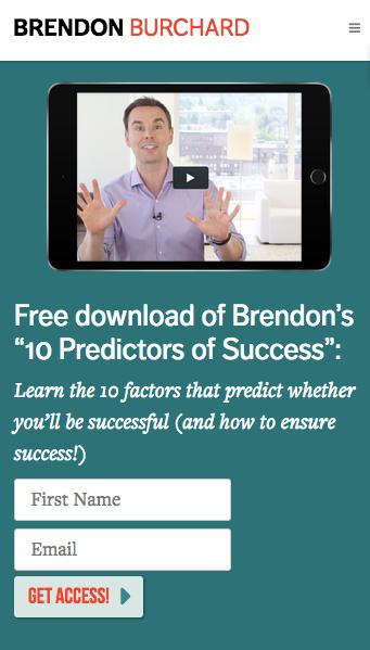 пример грамотного оффера от Брендона Берчарда (Brendon Burchard), лидера в сфере личностного роста