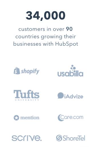 34 000 клиентов в более чем 90 странах растут с помощью HubSpot