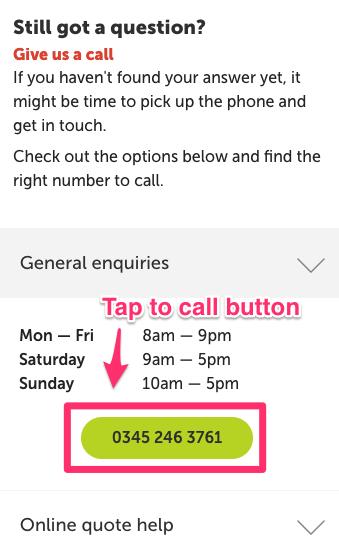 пример с мобильного сайта Direct Line