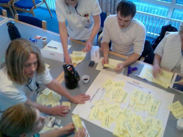 Рисунок 6: пользователи в ходе сеанса валидации технических требований обсуждают идеи, зафиксированные на стикерах.