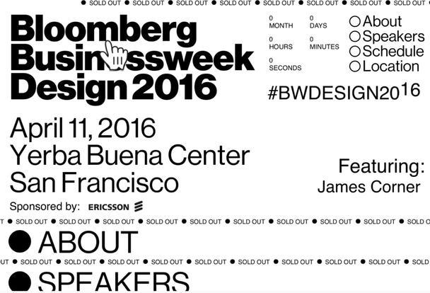 Сайт конференции Bloomberg's Businessweek Design привлекает внимание творящимся на странице хаосом.