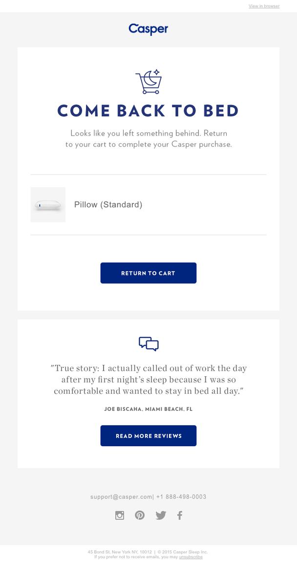 Вот пример письма с предложением вернуться и совершить покупку, которое содержит цитату из отзыва клиента. Это просто, но эффективно.