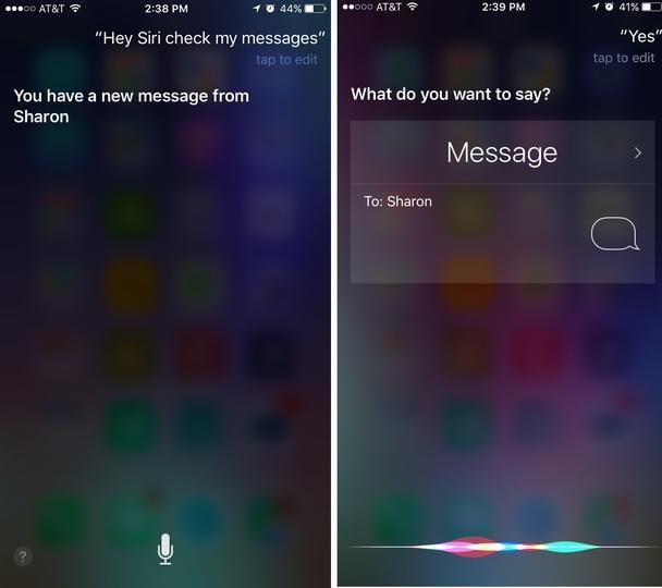 Siri читает текст вслух (слева), но содержимое полученного сообщения не отображается на экране, а во время диктовки ответа (справа), вам не видно сообщение, на которое вы отвечаете.