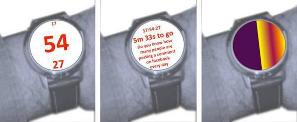 Рисунок 2: проектные эскизы, иллюстрирующие идеи визуализации времени в различных контекстах.