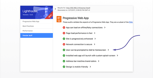Функция «Добавить на главный экран» является частью рекомендаций по разработке PWA от Google