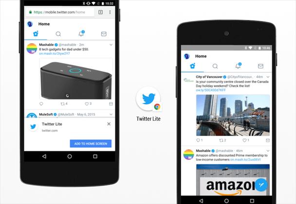 Уведомление о возможности добавить ссылку на экран в Twitter Lite и последующий запуск PWA в полноэкранном режиме