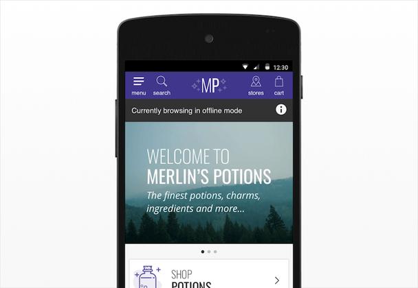Оффлайн-загрузка в примере PWA от Merlin's Potions