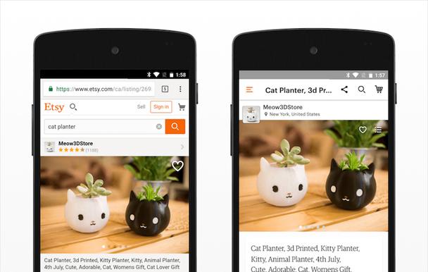Мобильный сайт Etsy (слева) и его Android-приложение (справа) иллюстрируют, как отличается дизайн хедеров. Пример справа отдает приоритет контекстуальным действиям: здесь есть кнопка расшаривания, но отсутствуют логотип и вход в систему
