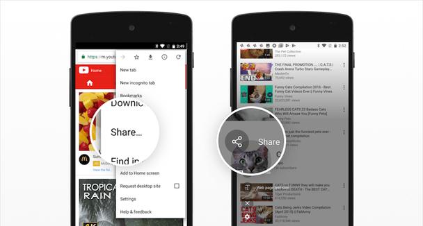 Браузеры Chrome и Samsung Internet имеют скрытую в оверлее меню кнопку, позволяющую поделиться страницей