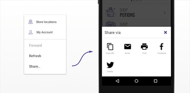 Доступ к таким действиям, как копирование URL, может осуществляться через опцию расшаривания, как это продемонстрировано здесь, с использованием Web Share API