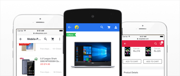 Современные PWAs AliExpress, Flipkart и Snapdeal имеют общие черты в дизайне заголовков