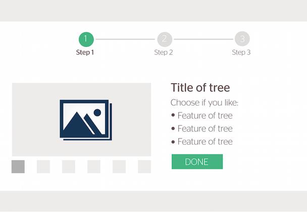 Страница из прототипа лишь намечает будущий контент: «шаг 1», «шаг 2», «название дерева», «характеристика дерева 1», «характеристика дерева 2» и т.д.