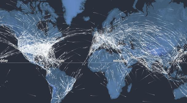Скриншот показывает полеты, совершающиеся между разными континентами