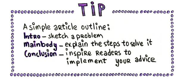Совет. Простой план выглядит так: введение — обозначьте проблему; основная часть — объясните шаги для ее решения; заключение — вдохновите читателей применить ваши рекомендации.