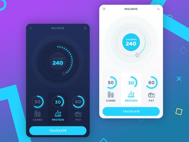 Мобильный дизайн приложения для составления и отслеживания диеты