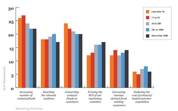 Небольшие компании склонны уделять первоочередное внимание лидогенерации, тогда как более крупные бизнесы к числу важнейших приоритетов относят в первую очередь оптимизацию ROI.