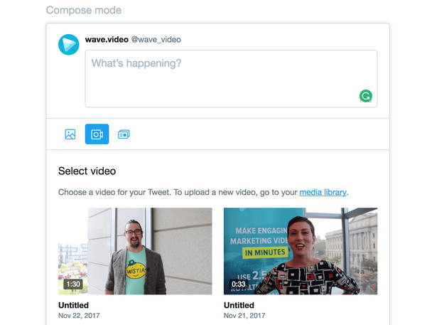 Выбор из загруженных видео через кнопку с изображением камеры