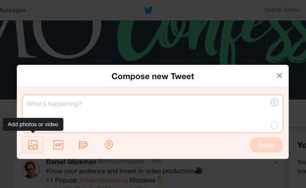 Создание твита, кнопка добавления фото и видео