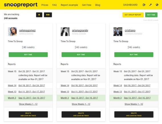 Панель мониторинга Snoopreport с добавленными пользователями Instagram