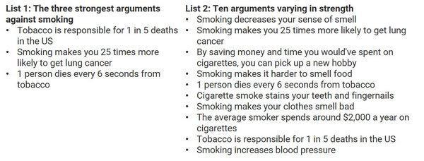 два списка аргументов