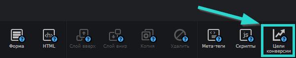 В верхней горизонтальной панели инструментов кликните по кнопке «Цели конверсии»: