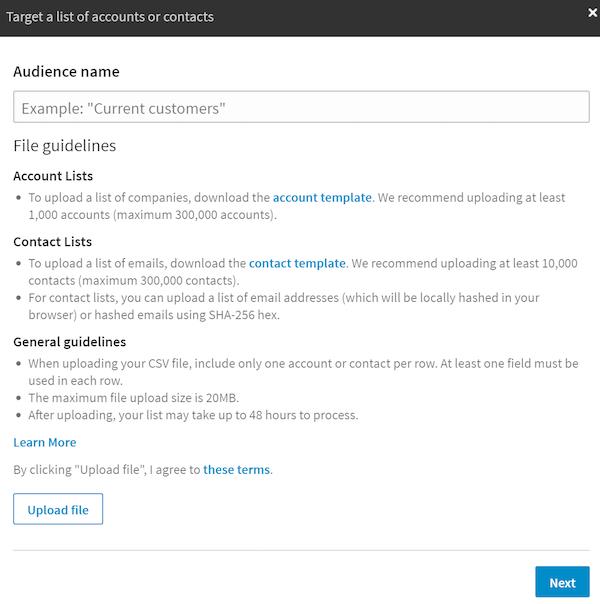 Вы можете загрузить список аккаунтов или емейл-адреса
