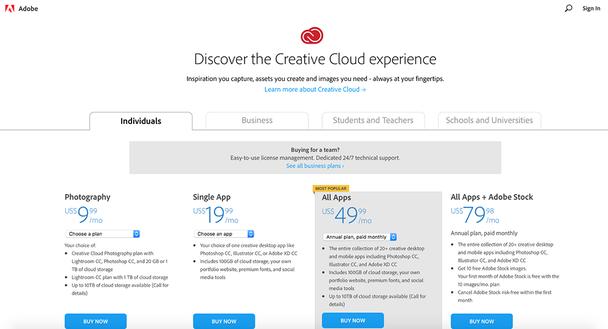 Варианты подписки от Adobe различаются для физических лиц, компаний, студентов и преподавателей, а также школ и университетов.
