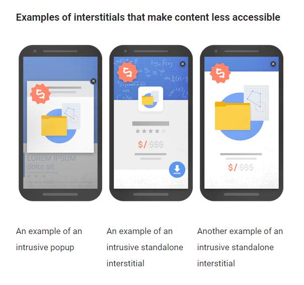Примеры промежуточной рекламы, затрудняющей доступ к контенту (слева направо): навязчивый pop-up и 2 случая навязчивой промежуточной рекламы