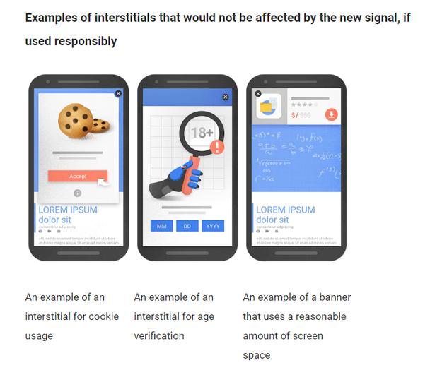 Примеры промежуточной рекламы, на которую не повлияет новый стандарт Google при условии, что вы подходите к работе с ней ответственно (слева направо)