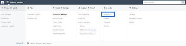 подключите платформу Business Manager в Facebook и перейдите в раздел «Аудитории» (Audiences)