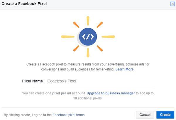 Нажмите «Создать» пиксель Facebook и введите название