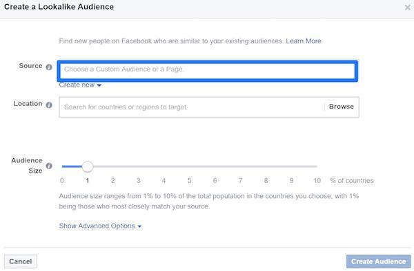 Перейдите в раздел «Аудитории» и нажмите «Создать похожую аудиторию». В качестве источника (source) выберите вторую аудиторию ремаркетинга, которую вы только что сохранили