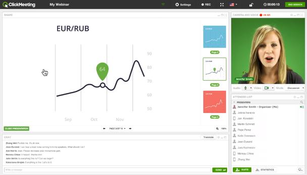 Популярная платформа для вебинаров ClickMeeting включает инструменты «голосование» и «опрос».