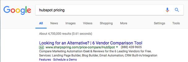 Поисковый запрос: «hubspot цены». Платный результат: «Ищете альтернативу? 6 инструментов для сравнения поставщиков услуг»