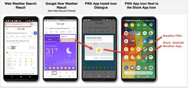 результаты поиска прогноза погоды, результаты Google Now, иконка установки прогрессивного приложения, иконка прогрессивного приложения рядом с иконкой стандартного приложения