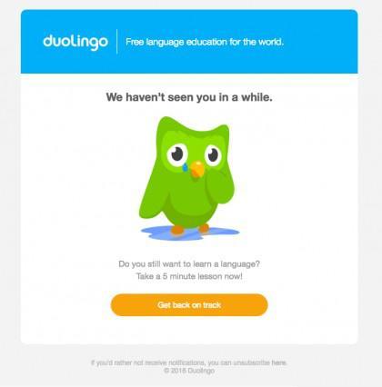 Duolingo использует электронную почту и push-уведомления, чтобы поддерживать высокую активность пользователей