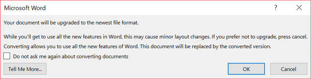 Microsoft Word confirmation dialog with progressive disclosure