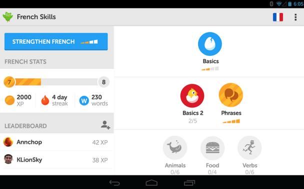 Так выглядел UX геймифицированной панели Duolingo в 2014 году